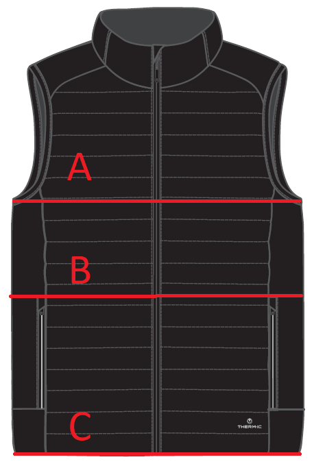 Tailles veste chauffante Therm-ic