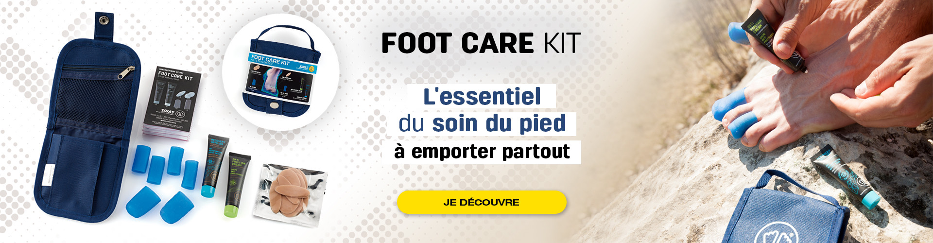 L'essentiel du soin du pied est dans le footcare kit, à emporter partout avec vous pour vos activités sportives