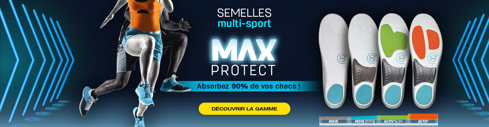 Découvrez les semelles Max Protect pour le multisport et absorbez 90% de vos chocs !